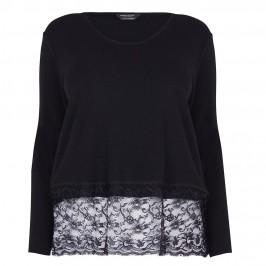 MARINA RINALDI BLACK SWEATER WITH LACE HEM - Plus Size Collection