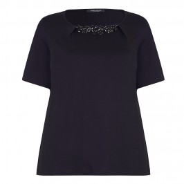 MARINA RINALDI BLACK T-SHIRT WITH REMOVABLE EMBELLISHMENT - Plus Size Collection