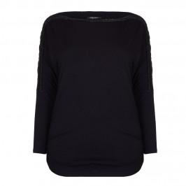 MARINA RINALDI black batwing boatneck beaded trim TOP - Plus Size Collection