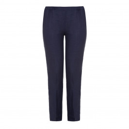 MARINA RINALDI French Navy Linen TROUSERS - Plus Size Collection