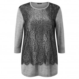 Marina Rinaldi GREY MARL LACE OVERLAY SWEATER - Plus Size Collection