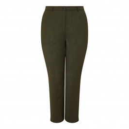 MARINA RINALDI TROUSERS WITH HEM STRAPS OLIVE - Plus Size Collection