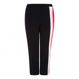 MARINA RINALDI BLACK TROUSER WITH RED INSERT DETAIL - Plus Size Collection
