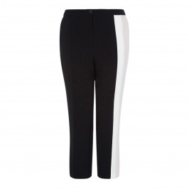 MARINA RINALDI BLACK TROUSER WITH CREAM INSERT DETAIL - Plus Size Collection
