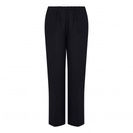 MARINA RINALDI LINEN PULL ON TROUSERS BLACK - Plus Size Collection