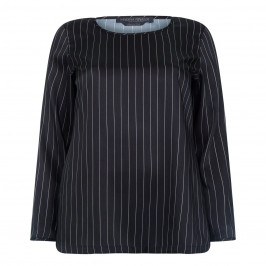 MARINA RINALDI BLACK PIN STRIPE TWILL TUNIC  - Plus Size Collection