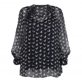 MARINA RINALDI NAVY SILK ORIGAMI PRINT TUNIC - Plus Size Collection