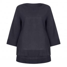 MARINA RINALDI LINEN TUNIC BLACK - Plus Size Collection