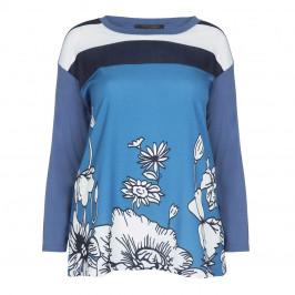 MARINA RINALDI BLUE TUNIC FLORAL PRINT   - Plus Size Collection