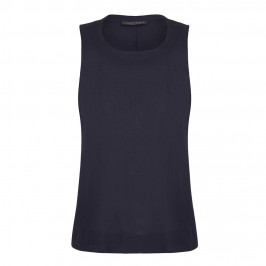 MARINA RINALDI LONG NAVY LINEN VEST - Plus Size Collection