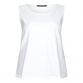 MARINA RINALDI SLEEVELESS COTTON JERSEY VEST WHITE  - Plus Size Collection