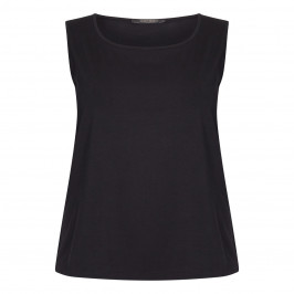 MARINA RINALDI SLEEVELESS COTTON JERSEY VEST BLACK - Plus Size Collection