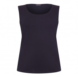 MARINA RINALDI ROUND NECK STRETCH JERSEY VEST BLACK - Plus Size Collection