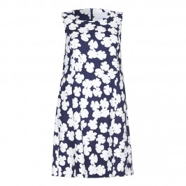 Marina Rinaldi navy abstract floral print DRESS with optional sleeves - Plus Size Collection