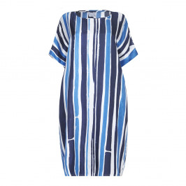 Marina Rinaldi painterly style stripe silk DRESS - Plus Size Collection