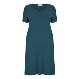 MARINA RINALDI V-NECK VISCOSE KNIT DRESS TEAL - Plus Size Collection