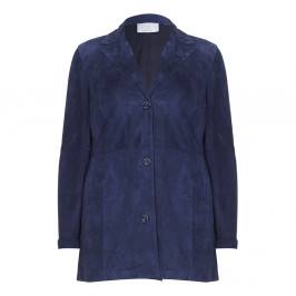 Marina Rinaldi blue suede 3-button JACKET - Plus Size Collection