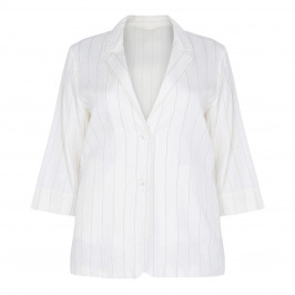 MARINA RINALDI WHITE LINEN PINSTRIPE SINGLE BREASTED BLAZER - Plus Size Collection