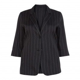 MARINA RINALDI BLACK LINEN PINSTRIPE SINGLE BREASTED BLAZER - Plus Size Collection