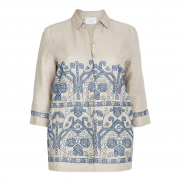 MARINA RINALDI LINEN EMBROIDERED JACKET - Plus Size Collection