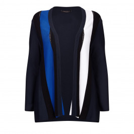 MARINA RINALDI BLUE AND BLACK STRIPE CARDIGAN