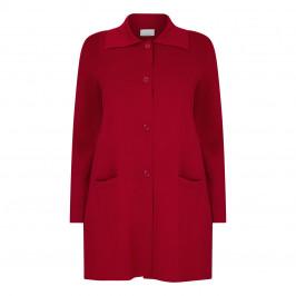 MARINA RINALDI LONG COLLARED KNIT CARDIGAN RED - Plus Size Collection
