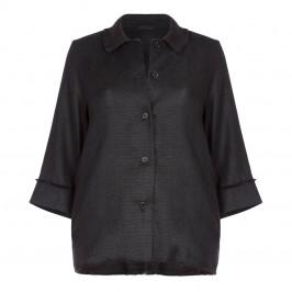 Marina Rinaldi black fringed hem LONG JACKET - Plus Size Collection