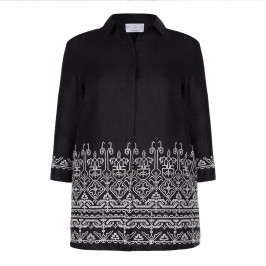 Marina Rinaldi black GEOMETRIC JACQUARD PATTERN JACKET - Plus Size Collection