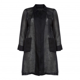 MARINA RINALDI LINEN VOILE LONGLINE JACKET BLACK - Plus Size Collection