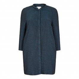 MARINA RINALDI JAQUARD LONG JACKET IN TEAL - Plus Size Collection