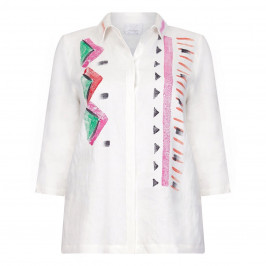 MARINA RINALDI HANDPAINTED LINEN SHIRT - Plus Size Collection