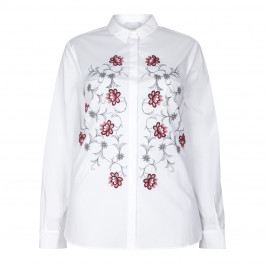 MARINA RINALDI WHITE CLASSIC SHIRT WITH FOLK EMBROIDERY - Plus Size Collection