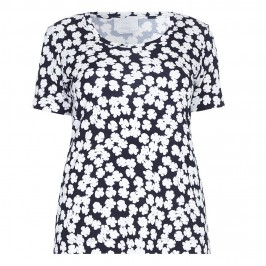 Marina Rinaldi navy and white abstract floral T-SHIRT - Plus Size Collection