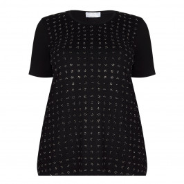 Marina Rinaldi black stud flower embellished T SHIRT - Plus Size Collection