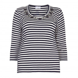 Marina Rinaldi embellished navy stripe TOP