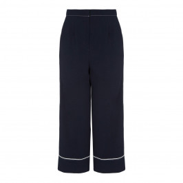 MARINA RINALDI NAVY TRIACETATE CULOTTES WHITE PIPING - Plus Size Collection