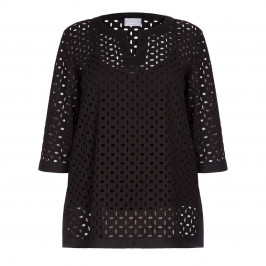 Marina Rinaldi Black Broderie Anglais Tunic - Plus Size Collection
