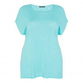 MARINA RINALDI LINEN MIX SWEATER AQUA - Plus Size Collection