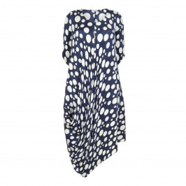 MASHIAH NAVY BLUE SPOT PRINT PLEATED DRESS - Plus Size Collection