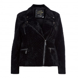 MAT. BLACK QUILTED VELVET BIKER JACKET - Plus Size Collection