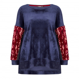 MAT. velour Tunic with sequined arms - Plus Size Collection