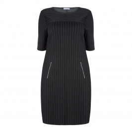 MAXIMA BLACK PINSTRIPE DRESS - Plus Size Collection