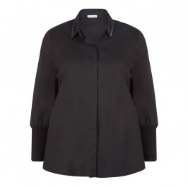 MAXIMA BLACK SHIRT WITH STUD COLLAR - Plus Size Collection