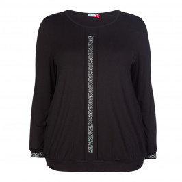 MAXIMA LONG SLEEVE JERSEY TOP BLACK  - Plus Size Collection