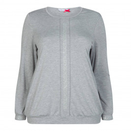 MAXIMA LONG SLEEVE JERSEY TOP GREY - Plus Size Collection