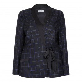 MAXIMA TIE DETAIL CHECK JACKET - Plus Size Collection