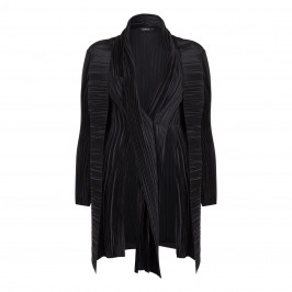 Mashiah Black Textured Coat With Layers  - Plus Size Collection