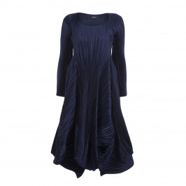 MASHIAH NAVY SATIN PLISSE DRESS - Plus Size Collection