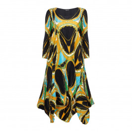 MASHIAH abstract print pleated DRESS - Plus Size Collection