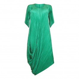 MASHIAH EMERALD GREEN ASYMMETRIC PLEATED DRESS - Plus Size Collection